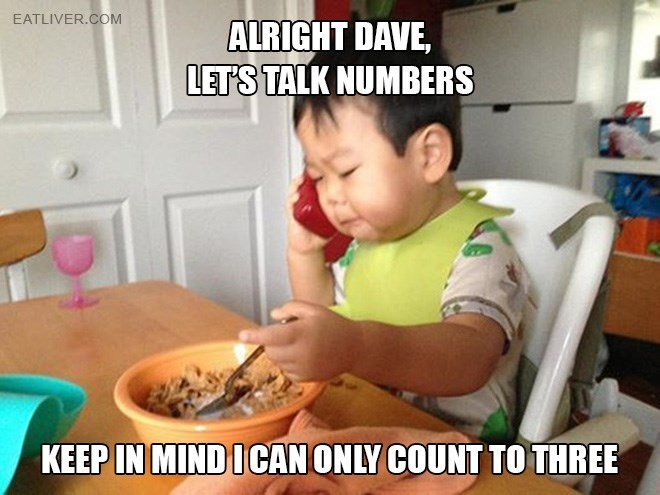 Meal - EATLIVER.COM ALRIGHT DAVE, LET'S TALK NUMBERS KEEP IN MIND ICAN ONLY COUNT TO THREE