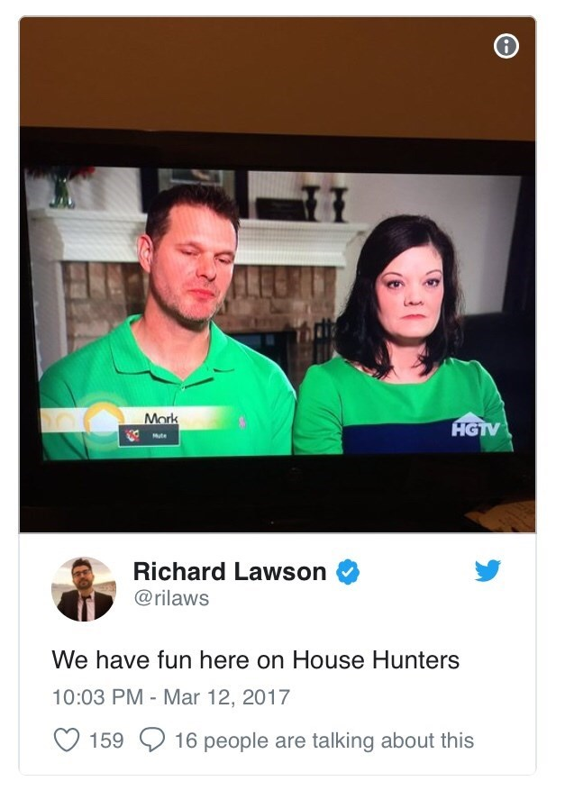 "Pic of a displeased-looking couple above a tweet that reads, ""We have fun here on House Hunters"""