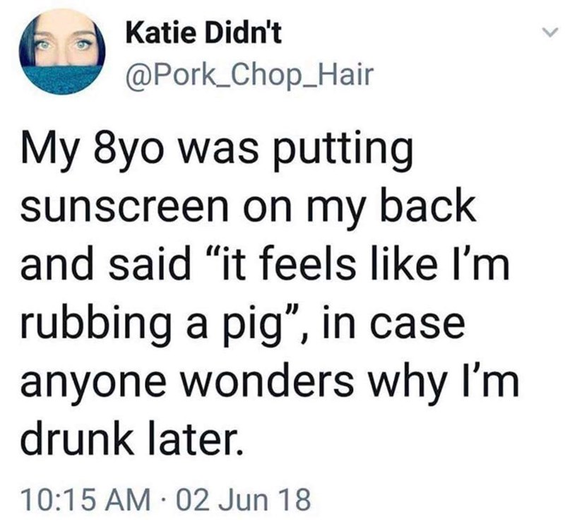 """Text - Katie Didn't @Pork_Chop_Hair My 8yo was putting sunscreen on my back and said """"it feels like I'm rubbing a pig"""", in case anyone wonders why I'm drunk later. 10:15 AM 02 Jun 18"""