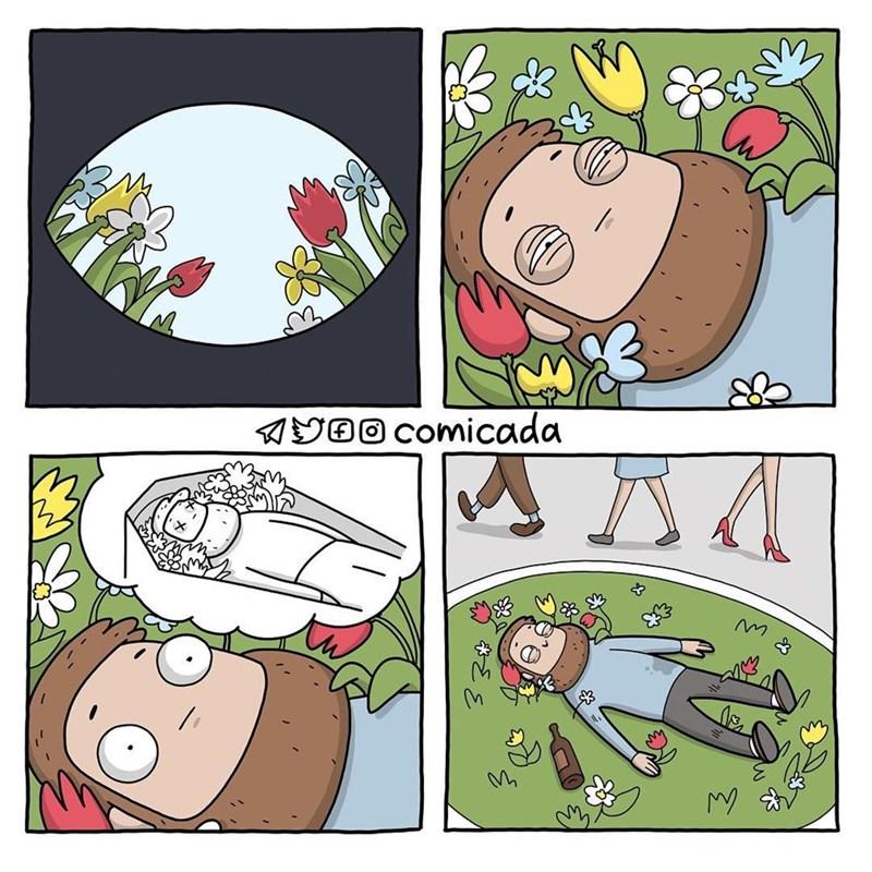 cuando despiertas ebrio en un jardin
