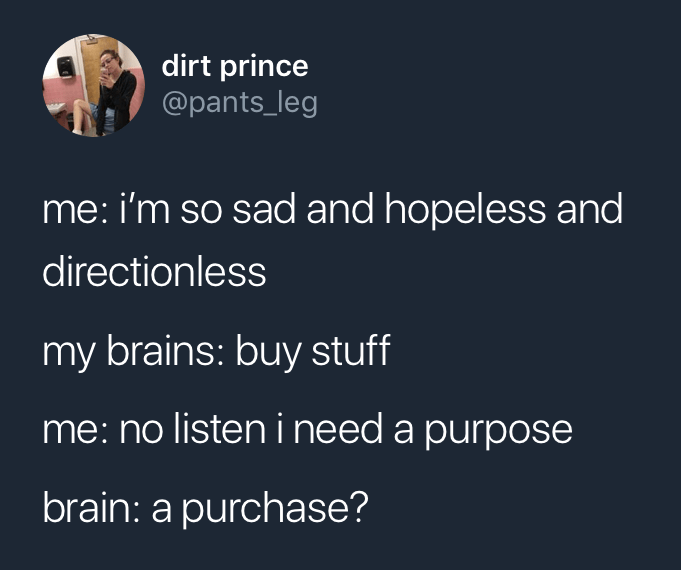 Funny tweet about buying things.