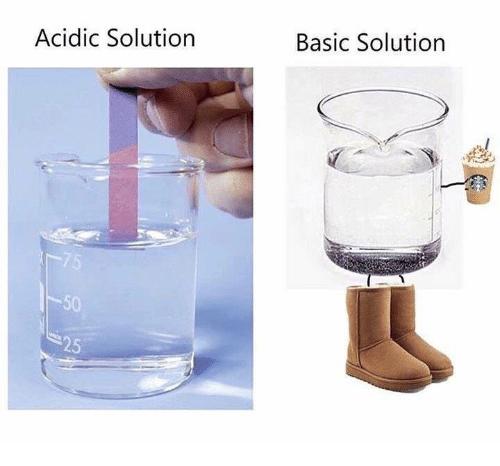 pumpkin spice meme - Water - Basic Solution Acidic Solution 75 -50 25