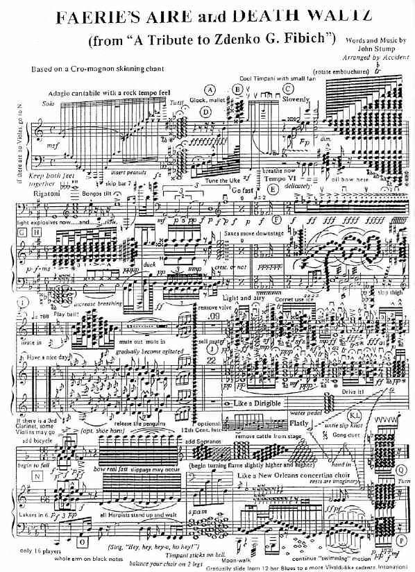 Sheet music that looks insane from a cro-magnon skinning chant