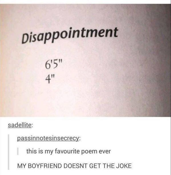 "Poem posted on Tumblr that reads, ""Disappointment - 6'5"" and 4;"""" someone comments that their boyfriend doesn't get the joke"