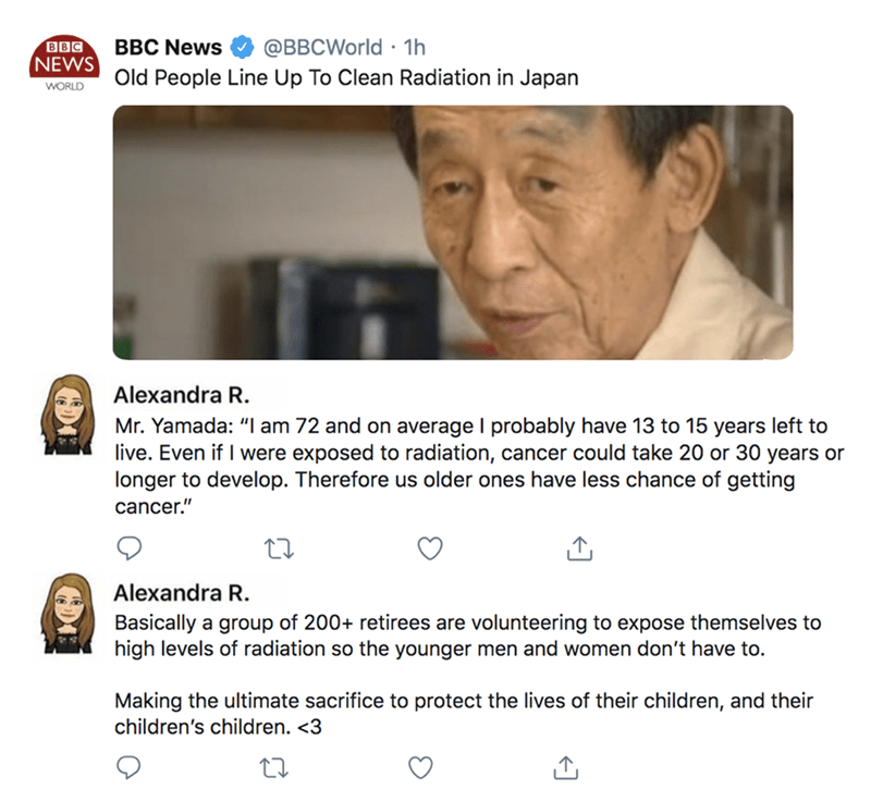 wholesome meme of a BBC headline about old people in Japan that are cleaning radiation