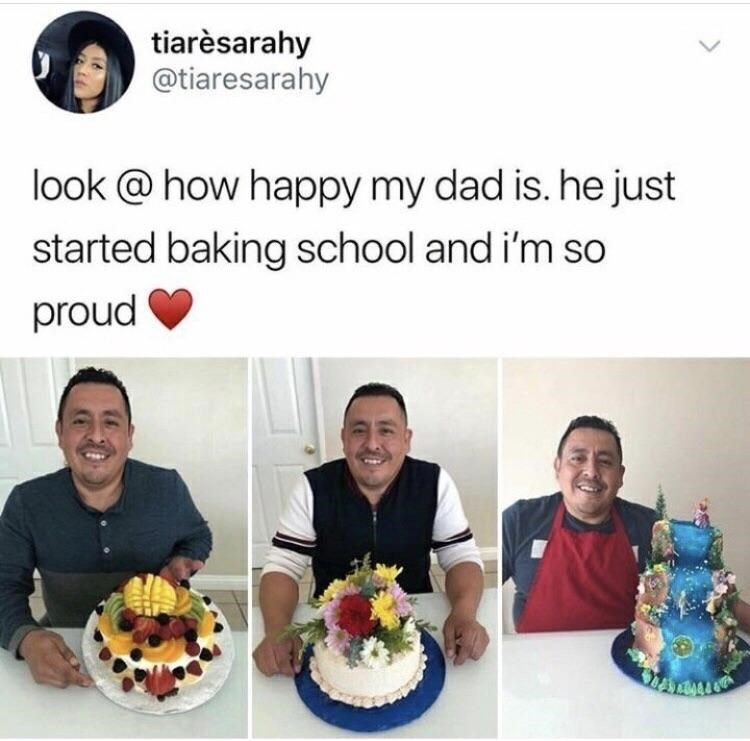 wholesome meme of a dad that started baking school