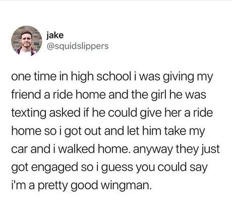 wholesome meme of a guy who helped his friend find his wife