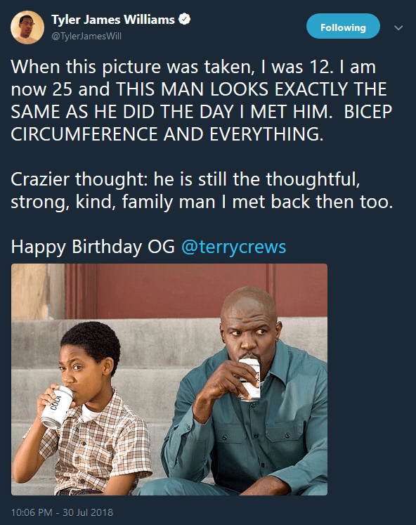Tyler James Williams tweets a heartwarming happy birthday message to Terry Crews