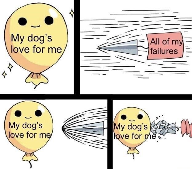 wholesome meme about how a dog's love overpowers the bad things in life