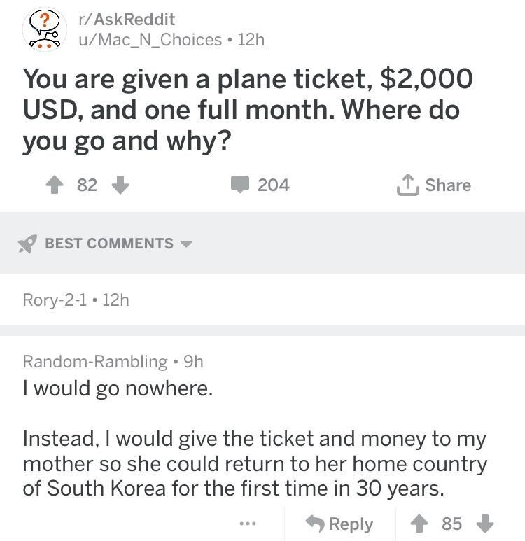 wholesome meme about having 2,000 dollars and giving it your mom to visit her hometown