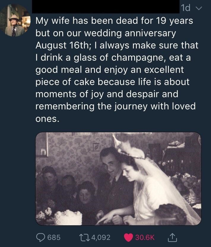 wholesome meme of a man who celebrates his wedding anniversary of his dead wife