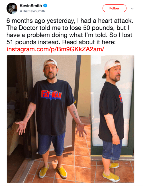 wholesome meme about a guy who lost weight after having a heart attack