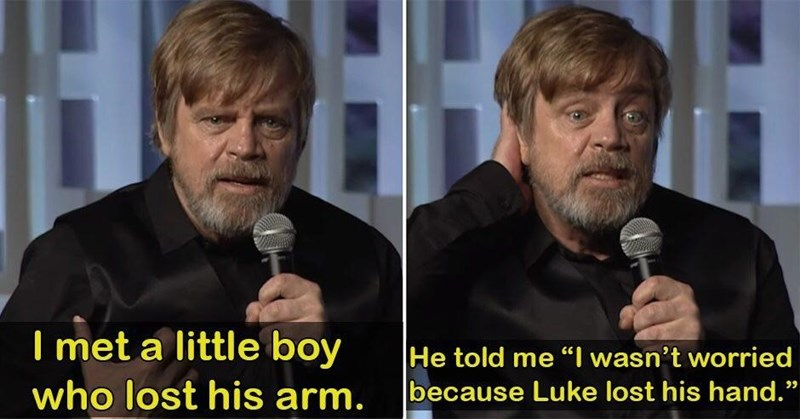 wholesome meme about a boy who lost his arm but wasn't worried because Luke lost his