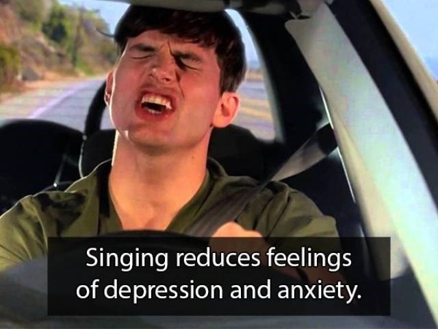 Facial expression - Singing reduces feelings of depression and anxiety.