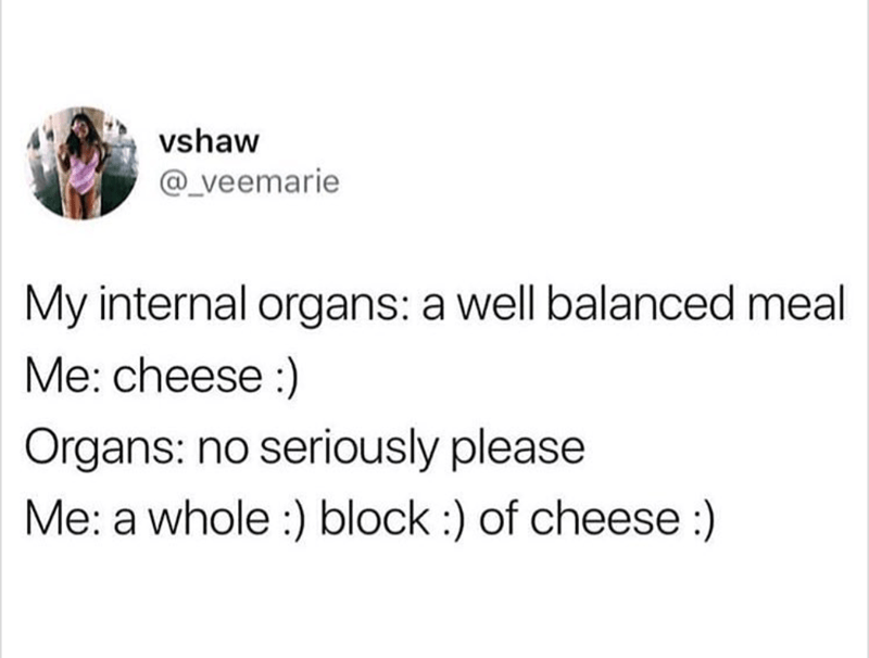basic meme - Text - vshaw @_veemarie My internal organs: a well balanced meal Me: cheese:) Organs: no seriously please Me: a whole :) block :) of cheese :)
