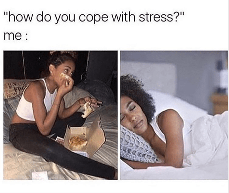 "basic meme - Text - ""how do you cope with stress?"" me:"