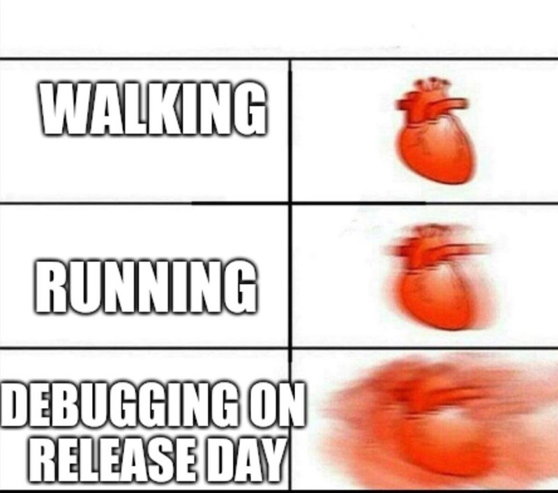 Text - WALKING RUNNING DEBUGGING ON RELEASE DAY