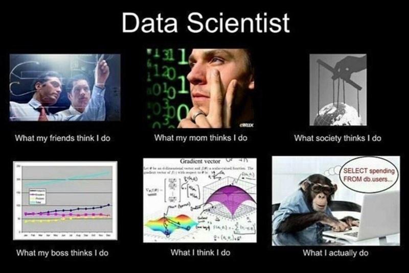 Facial expression - Data Scientist 1311 120. eWEEK What my friends think I do What my mom thinks I do What society thinks I do Gradient vector d f d The SELECT spending FROM db.users... the ) What I actually do What I think I do What my boss thinks I do