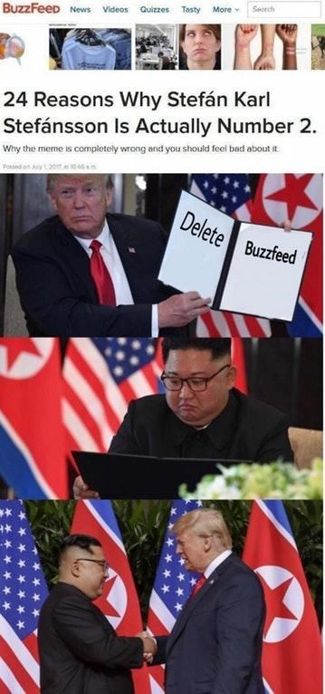 Trump and Kim Jong Un meme where Trump proposes deleting Buzzfeed, causing the two to agree and shake hands