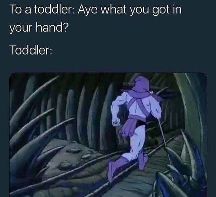 meme about a toddler holding something suspicious