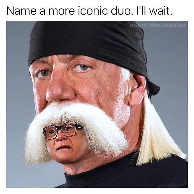 hulk hogan meme - Hair - Name a more iconic duo. I'll wait. adam.the.creator