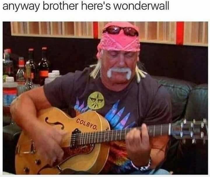 hulk hogan meme - Guitar - anyway brother here's wonderwall COLBYO