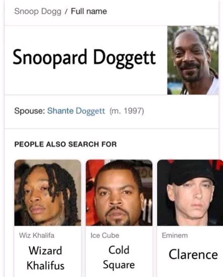 Face - Snoop Dogg/ Full name Snoopard Doggett Spouse: Shante Doggett (m. 1997) PEOPLE ALSO SEARCH FOR Wiz Khalifa Ice Cube Eminem Cold Wizard Clarence Square Khalifus