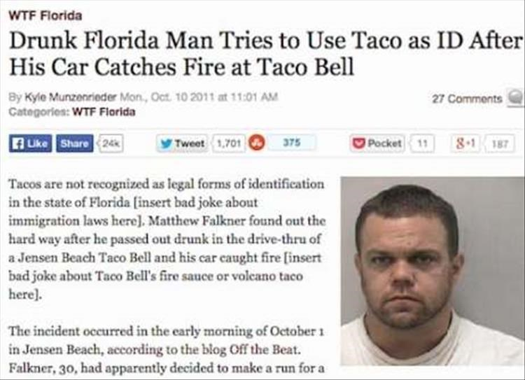 Text - WTF Florida Drunk Florida Man Tries to Use Taco as ID After His Car Catches Fire at Taco Bell By Kyle Munzenrieder Mon, Oct 10 2011 at 11:01 AM Categories: WTF Florida 27 Comments fUke Share 24 Pocket 11 8.1 187 375 Tweet 1,701 Tacos are not recognized as legal forms of identification in the state of Florida (insert bad joke about immigration laws here]. Matthew Falkner found out the hard way after he passed out drunk in the drive-thru of a Jensen Beach Taco Bell and his car caught fire [