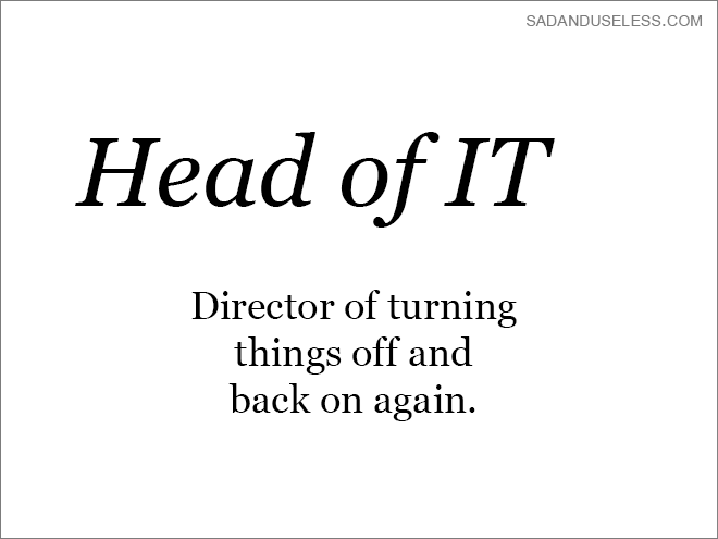 Text - SADANDUSELESS.COM Head of IT Director of turning things off and back on again