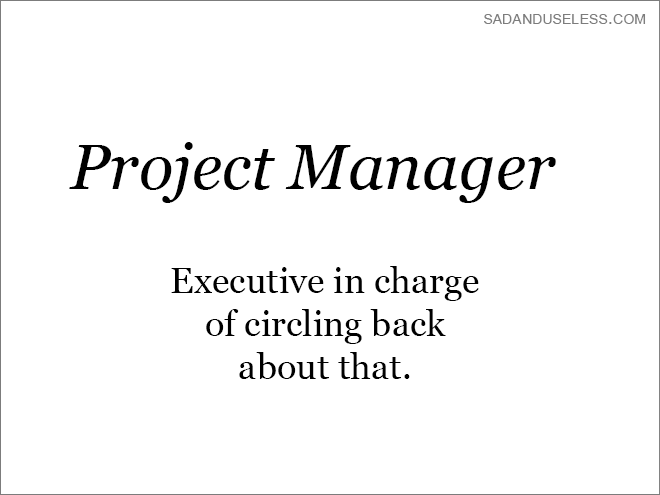 Text - SADANDUSELESS.COM Project Manager Executive in charge of circling back about that