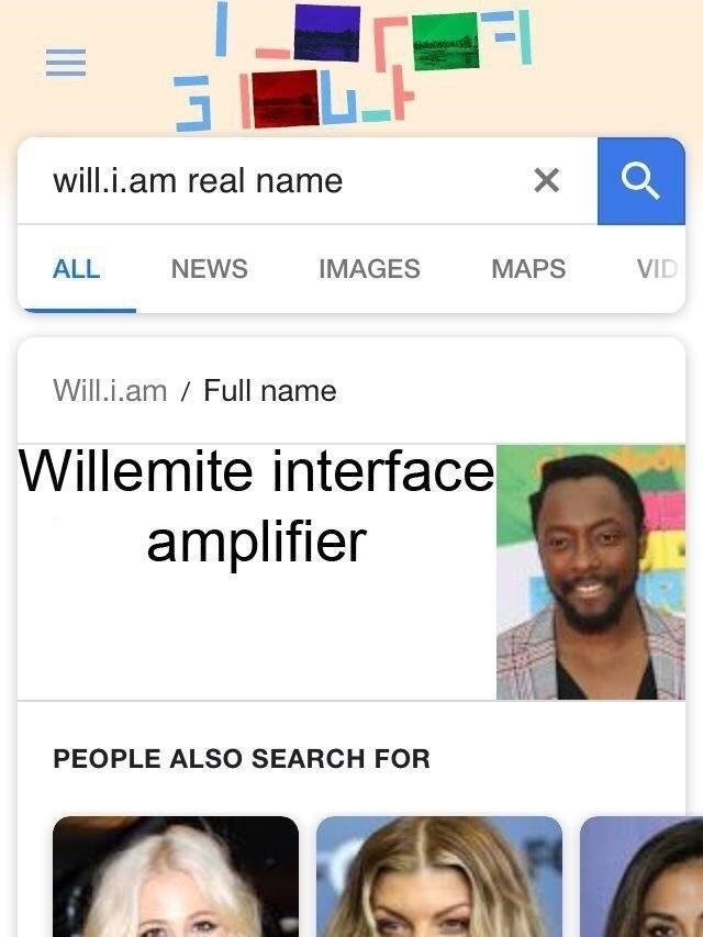 celeb real name - Face - will.i.am real name X NEWS IMAGES ALL MAPS VID Will.i.am Full name Willemite interface amplifier PEOPLE ALSO SEARCH FOR