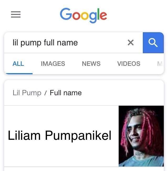 celeb real name - Text - Google lil pump full name IMAGES VIDEOS ALL NEWS Lil Pump Full name Liliam Pumpanikel