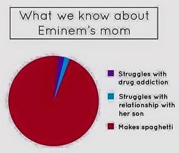 "Pie chart titled ""What We Know About Eminem's Mom,"" where the sections of the chart are ""Struggles with drug addiction,"" ""Struggles with relationship with her son,"" and ""Makes spaghetti"""