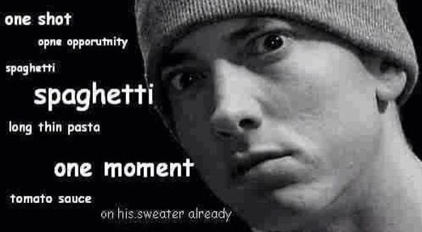 Face - one shot opne opporutnity spaghetti spaghetti long thin pasta one moment tomato sauce on his sweater aiready