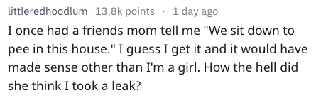 """Text - littleredhoodlum 13.8k points 1 day ago I once had a friends mom tell me """"We sit down to pee in this house."""" I guess I get it and it would have made sense other than I'm a girl. How the hell did she think I took a leak?"""