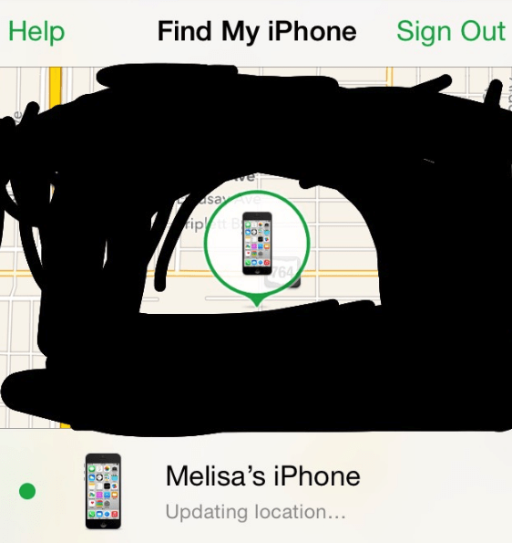 Font - Help Find My iPhone Sign Out ay ipt B 64 Melisa's iPhone Updating location...