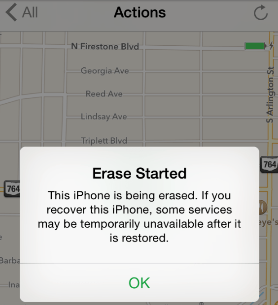 Text - All Actions N Firestone Blvd -Georgia Ave Reed Ave Lindsay Ave Triplett Blvd 764 Erase Started 764 This iPhone is being erased. If you recover this iPhone, some services may be temporarily unavailable after it is restored. ye's Barba OK Ina S Arlington St