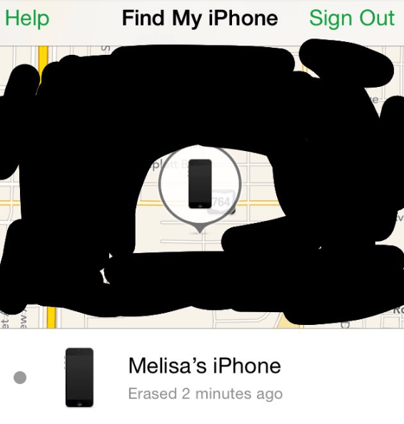 Text - Help Find My iPhone Sign Out e 764 Melisa's iPhone Erased 2 minutes ago ME