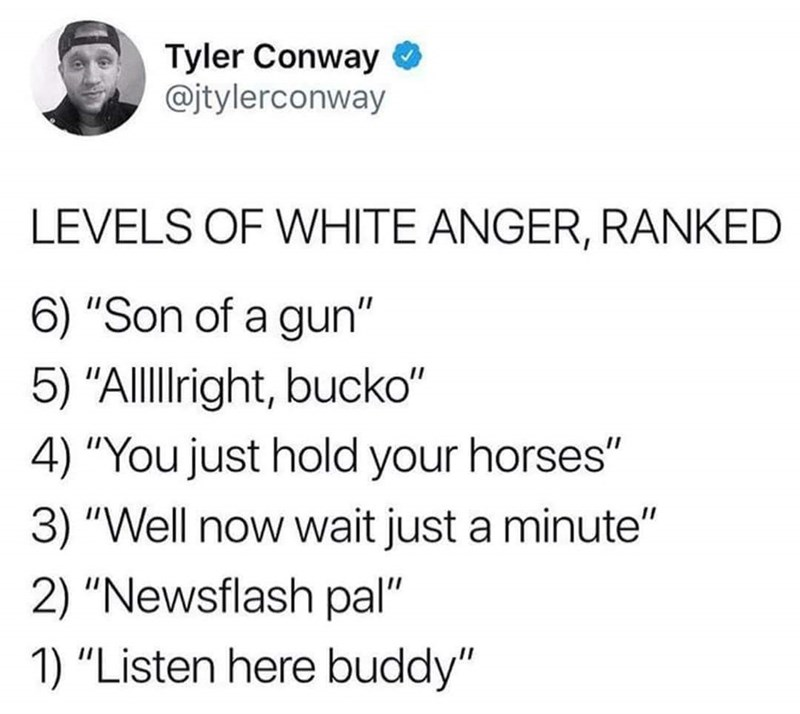 "Text - Tyler Conway @jtylerconway LEVELS OF WHITE ANGER, RANKED 6) ""Son of a gun"" 5) ""Allllright, bucko"" 4) ""You just hold your horses"" 3) ""Well now wait just a minute"" 2) ""Newsflash pal"" 1) ""Listen here buddy"""