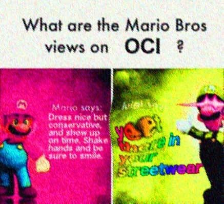 Text - What are the Mario Bros views on OCI Mara says Dress nice bat conaervative and show up on tme, Shake hands and be sure to smle Streetwear