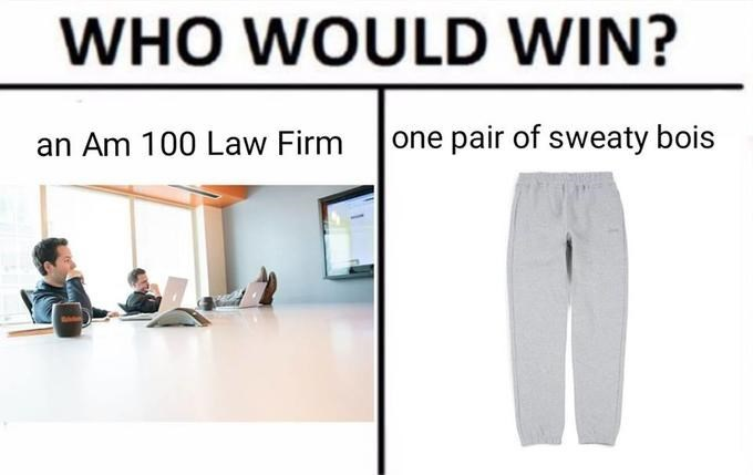 Clothing - WHO WOULD WIN? Am 100 Law Firm one pair of sweaty bois