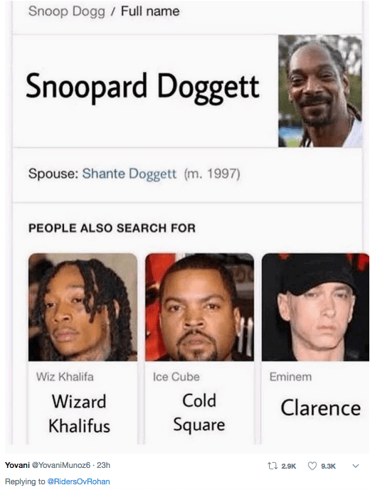 Face - Snoop Dogg Full name Snoopard Doggett Spouse: Shante Doggett (m. 1997) PEOPLE ALSO SEARCH FOR Wiz Khalifa Ice Cube Eminem Cold Wizard Clarence Square Khalifus Yovani @YovaniMunoz6 23h t 2.9K 9.3K Replying to @RidersOvRohan
