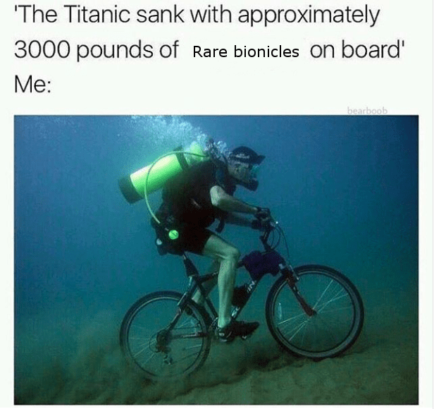Bicycle - The Titanic sank with approximately 3000 pounds of Rare bionicles on board' Me: bearboob