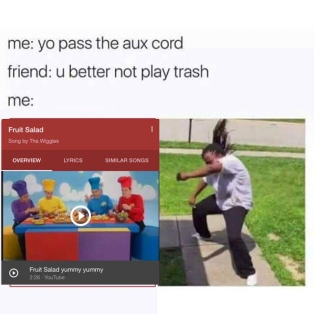 Product - me: yo pass the aux cord friend: u better not play trash me: Fruit Salad Song by The Wiggles LYRICS SIMILAR SONGS OVERVIEW Fruit Salad yummy yummy 2:26 YouTube