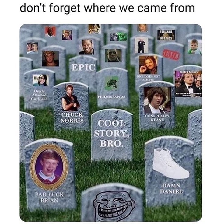 Funny meme about old memes, dead memes, memes of the past, conspiracy keanu.