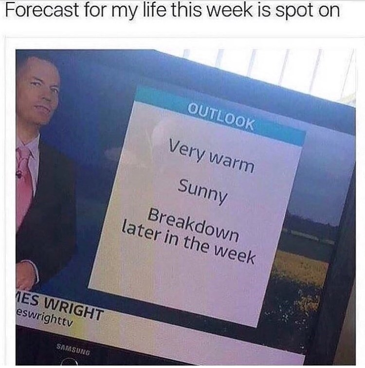 Text - Forecast for my life this week is spot on OUTLOOK Very warm Sunny Breakdown later in the week MES WRIGHT eswrighttv SAMSUNG