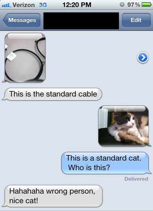 Text - 97% l. Verizon 3G 12:20 PM Messages Edit This is the standard cable This is a standard cat. Who is this? Delivered Hahahaha wrong person, nice cat!