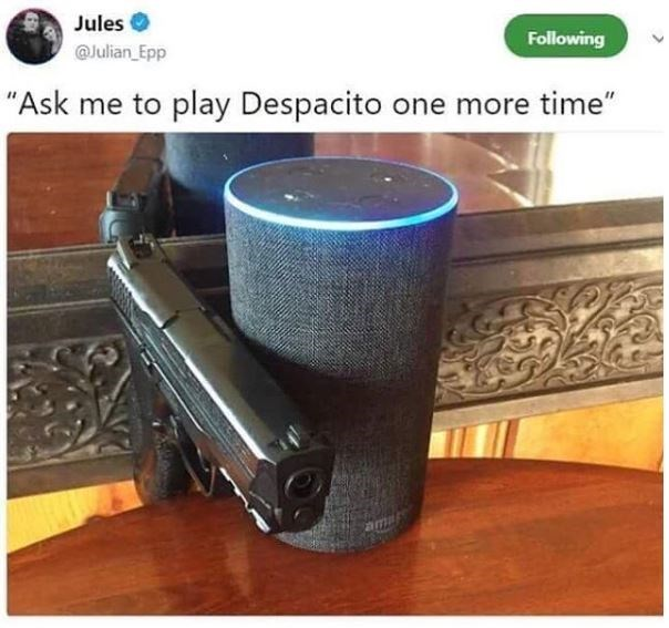 "Product - Jules Following @Julian Epp ""Ask me to play Despacito one more time"""