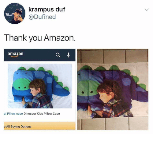 Product - krampus duf @Dufined Thank you Amazon amazon al Pillow case Dinosaur Kids Pillow Case e All Buying Options