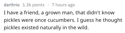 Text - darthrio 1.3k points 7 hours ago I have a friend, a grown man, that didn't know pickles were once cucumbers. I guess he thought pickles existed naturally in the wild